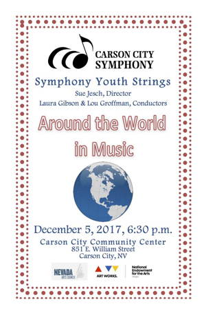 Flyer for the 'Around the World in Music' program.