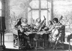 Woodcut of Baroque musicians