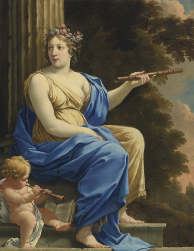 Painting of Euterpe, Muse of Music and Lyric Poetry, by Simon Vouet