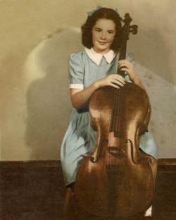 Picture of Rosemary at 16 with her cello in Australia.