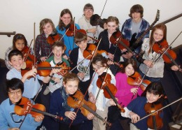 Photograph of youthful string players