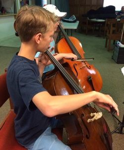 Photograph of cello students, the summer of 2017.